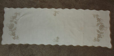 """VINTAGE EMBROIDERED LINEN TABLE RUNNER CROSS STITCHED  44"""" X 16"""""""