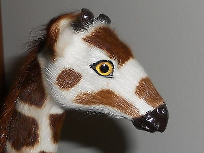 """GIRAFFE HARD PLASTIC BODY COVERED WITH SOFT FAUX FUR GLASS EYES 11"""""""
