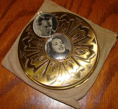 Vintage Zell Large Compact with Photo Locket Gold Tone