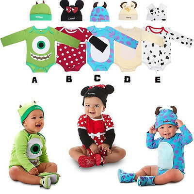 Baby Boy Girl Bodysuit Set Beany Animal Costume Outfit Romper 3-6M 6-9M 9-12M