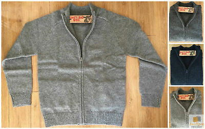 Full Zip 100% SHETLAND WOOL Up Knit JUMPER Pullover Mens Sweater Knitted New
