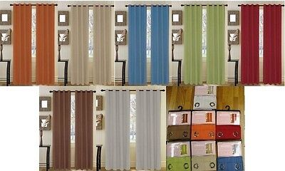 Set of  2 Broadway Textured Grommet Top Curtain Drapery Panels 84 inch Long