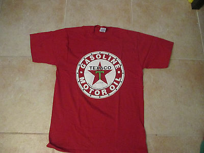 VINTAGE JERZEES TEXACO GASOLINE & OIL LOGO LARGE RED SHIRT MADE IN THE USA