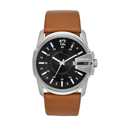 NEW Authentic DIESEL Mens Master Chief Brown Leather Black Dial Watch DZ 1617