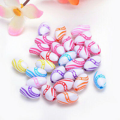 30pcs opaque mix color acrylic colored stripes olive Charms Beads 13 * 7mm Y128