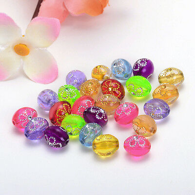 8*9mm 30pcs mix color acrylic painting flower oval Charms For SPACER Beads Y127