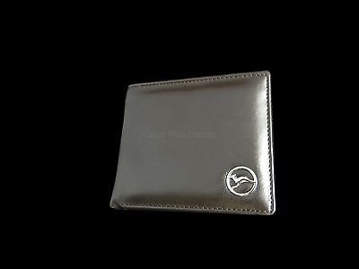 Australian Souvenir Mens Brown Leather Wallet with Silver Flying Kangaroo Badge