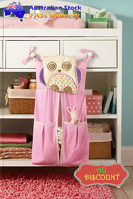 NEW Baby Girl Cot Embroidered Nursery Diaper Nappy Stacker Storage Organiser Bag