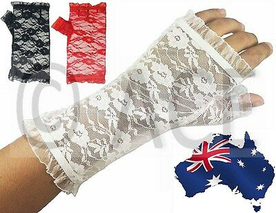 Pair of Womens Ladies Girls Party Costume Wedding Fingerless Lace Gloves