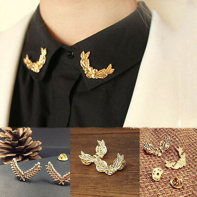 2pcs Vintage Gold Wheat Leaf Cross Flower Brooch Bouquet Craft Collar Pin Back