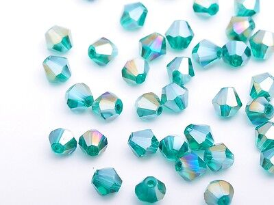 50pcs 6mm Bicone Faceted Crystal Glass Loose Charm Spacer Beads Peacock Green AB