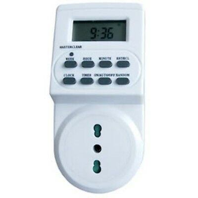 TIMER DIGITALE DISPLAY PROGRAMMABILE CLOCK MULTIFUNZIONI PRESA SPINA OROLOGIO