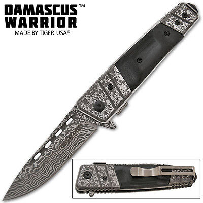 Damascus Warrior Trigger Assisted Knife