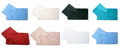 Super Soft Absorbent Non Slip Memory Foam 2 Piece Bathroom Mat & Pedestal Set