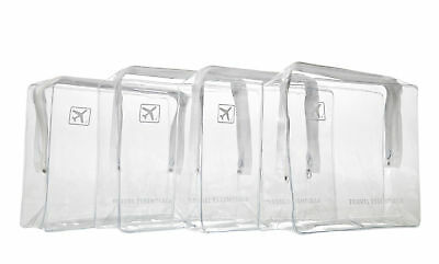 HOLIDAY TRAVEL TOILETRIES BAGS  X4 - Clear Plastic Airline Airport Toiletry Bag