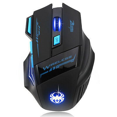 Adjustable 2400DPI Optical Wireless Gaming Game Mouse For Laptop PC Tide