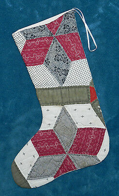 FABULOUS ANTIQUE VINTAGE CUTTER QUILT CHRISTMAS STOCKING! 38 GREEN BURGUNDY