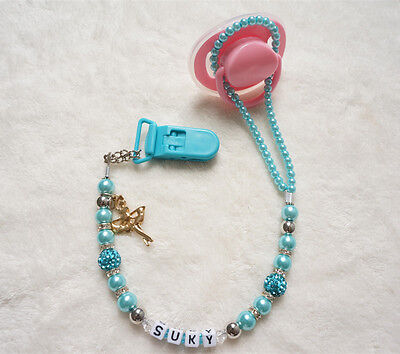 Personalised Any name Bling Baby green hand made pacifier chain clips dummy clip