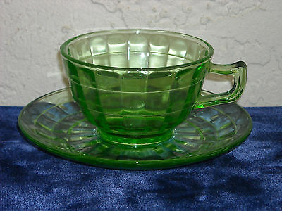 Block Optic Cup and Saucer  Green