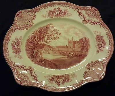 "Johnson Bros Pink Red Old Britain Castles Oval Serving Dish 9"" England"