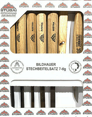 Wood Carving Chisels - Stubai 52 Series - Set of 5 + 2 Knives - F4926