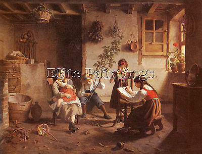 Seignac Paul The Reading Lesson Artist Painting Oil Canvas Repro Wall Art Deco