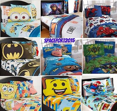 3-pc Bed Room TWIN-Single SHEETS SET Boys TV Movies (Comforter sold Separately)