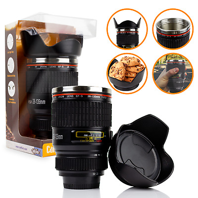 IDEAL GIFT Camera Lens Coffee Tea Mug With Stainless Steel Thermos - BLACK