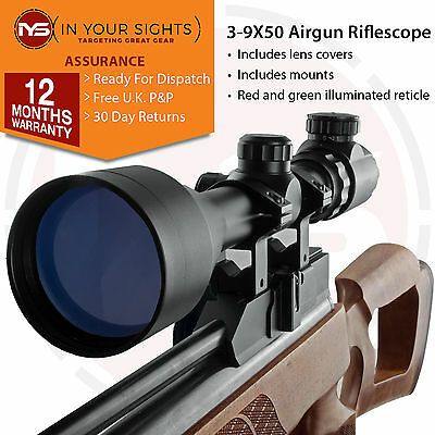 3-9X50 Air Rifle scope , Red/Green reticle with 11mm Dovetail Mounts