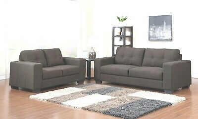 Grey or Brown Fabric Material 3 Seater 2 Seater Sofa Suite KINGSTON
