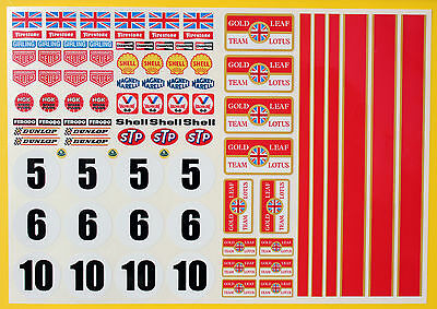 RC GOLD LEAF vintage style F1 Rally LOTUS stickers declas 10th scale