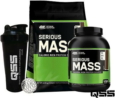 On Optimum Nutrition Serious Mass Weight Gainer Protein Shake 12Lbs / 6Lbs +Shak