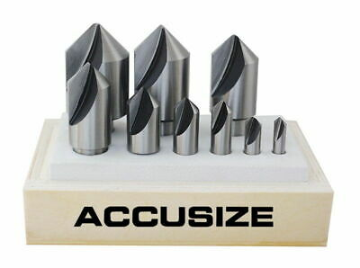9 Pcs Single Flute HSS Countersink Set, 90 Degree, Ground, #0245-2027