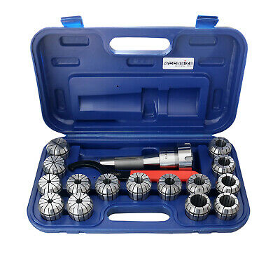 R8 Shank + 15 Pcs/Set ER40 Collet Set + Wrench in Fitted Strong Box, #0223-0984