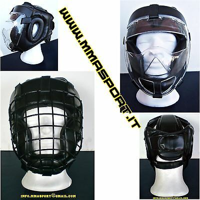 casco boxe free street fight jkd mma in ecopelle con grata metallo asportabile