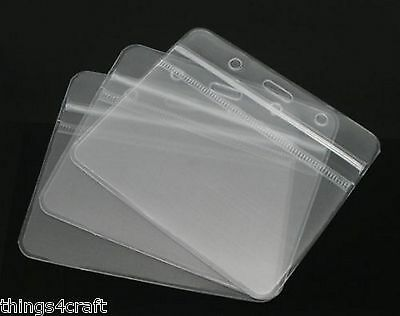 ID Badge Holder 98x79mm  Plastic Pocket Holder Clear Pouches for lanyards pass