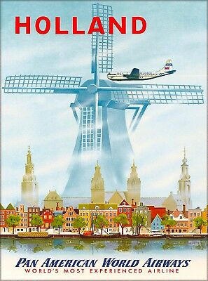 Holland Dutch Netherlands Windmill Vintage Travel Advertisement Art Poster