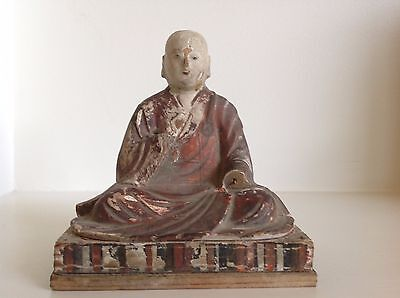 Japanese Polychrome Painted Wood Hand Carved Figure Seated Priest Edo Period