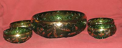 EAPG Delaware Pattern - 5 Piece Berry Bowl Set - Emerald With Gold Accent