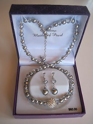 Gray Mother-of-Pearl & Crystal Fine Silver-Plated Necklace & Drop Earring Set