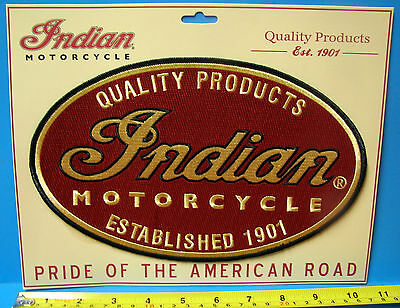 """INDIAN MOTORCYCLE OVAL EMBROIDERED PATCH ~ GIANT 10.5""""  ~ PRISTINE!"""