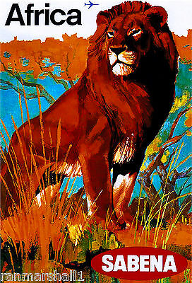 African Afrique Lion Airplane Africa Vintage Travel Art Poster Advertisement