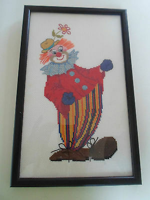 Gorgeous Colourful Clown Cross Stitch ~ Framed Behind Glass Wall Hanging