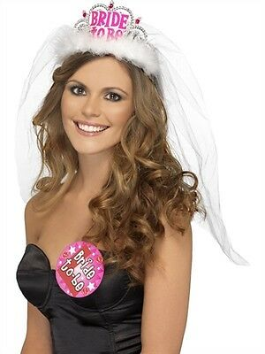 Glamorous Womens Sexy Accessory Bride to be Tiara Veil by Fever Lingerie White