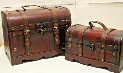 Old Vintage Style Decorative Leather Brass Wooden Treasure Trunk Boxes,Set of 2