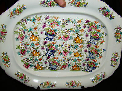 """Early Ridgway Staffordshire Porcelain Chinoiserie Platter 20"""" 1814-1820"""