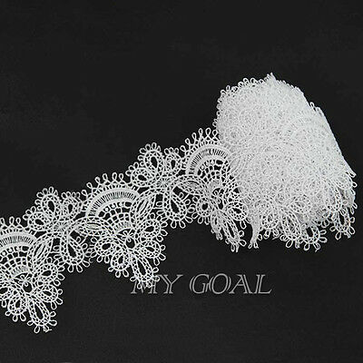 2 Yard Embroidered Net Lace Trim Applique DIY Ribbon Wedding Bridal Sewing Craft