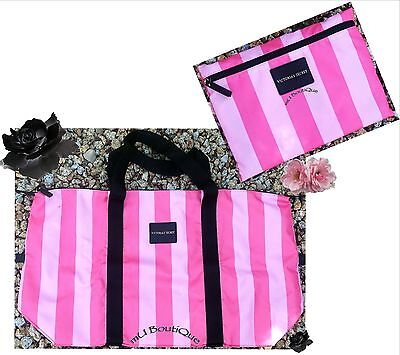 1 Victoria Secret Hot Pink Stripe Getaway Weekend Packable Bag Duffel Tote  Nwt