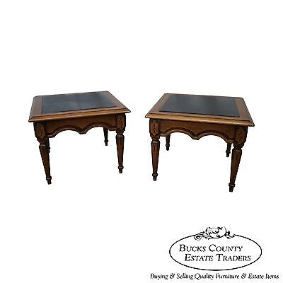 Quality Pair of Regency Style Walnut Slate Top End Tables