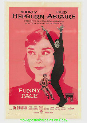 FUNNY FACE MOVIE POSTER Original 27x41 Linenbacked VF 1957 AUDREY HEPBURN